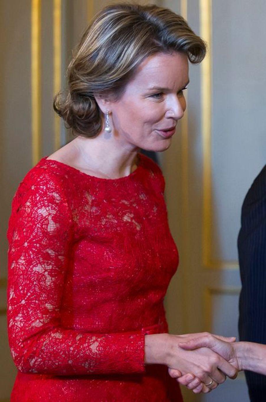 La reine Mathilde de Belgique le 12 janvier 2016
