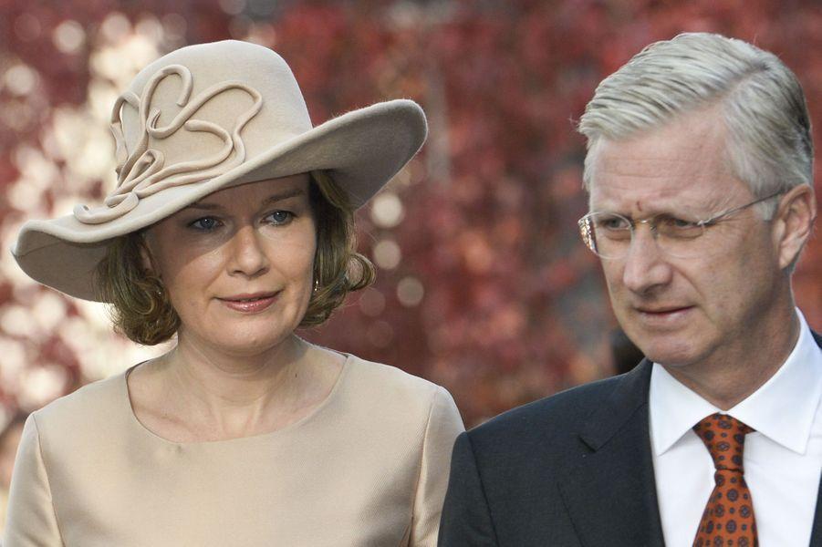 La reine Mathilde et le roi Philippe de Belgique à Varsovie, le 15 octobre 2015