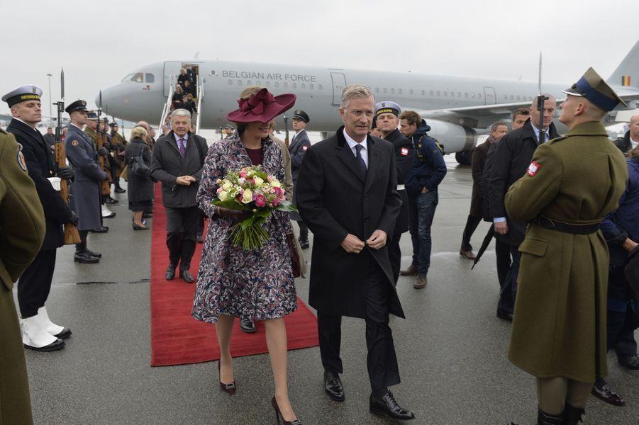 La reine Mathilde et le roi Philippe de Belgique à Varsovie, le 13 octobre 2015