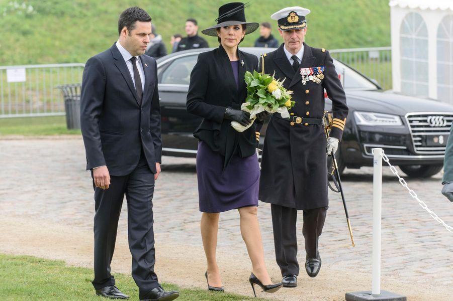 La princesse Mary de Danemark commémore l'Anzac Day à Copenhague, le 25 avril 2015