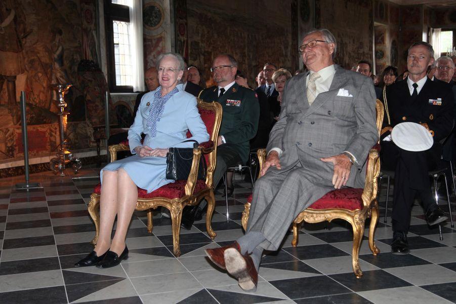 La reine Margrethe II de Danemark et le prince Henrik au château de Rosenberg à Copenhague, le 27 mai 2015