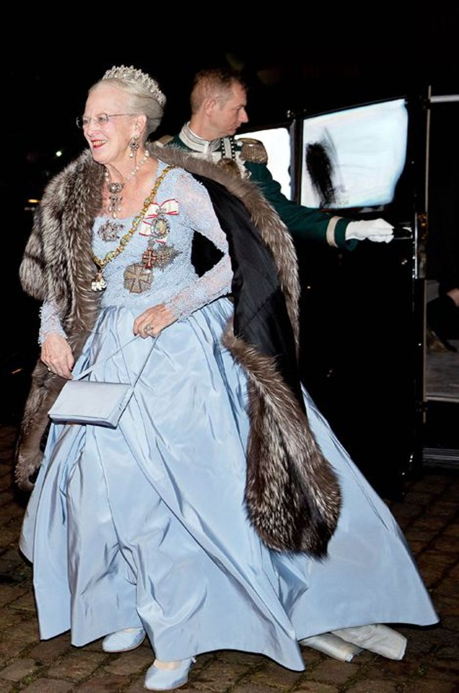 La reine Margrethe II de Danemark au dîner du Nouvel An à Copenhague, le 1er janvier 2016