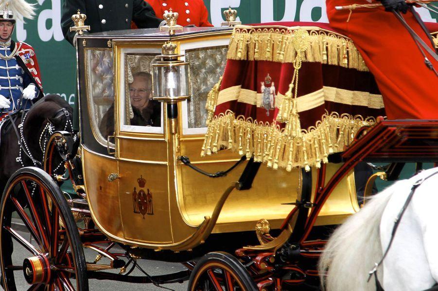 La reine Margrethe II de Danemark dans le carrosse du roi Christian VIII de Danemark à Copenhague, le 4 janvier 2018