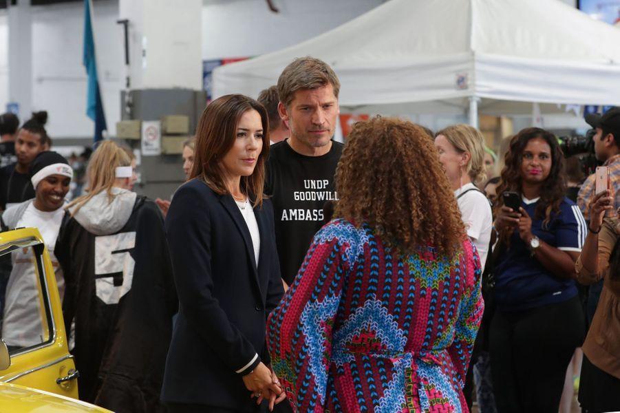 La princesse Mary de Danemark et Nikolaj Coster-Waldau, Jaime Lannister dans Game of Thrones, à New York le 19 septembre 2017