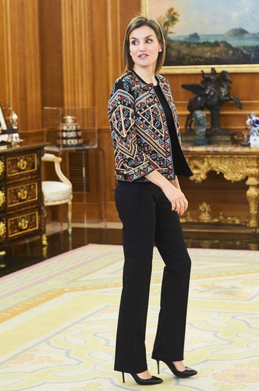 La reine Letizia d'Espagne au palais de la Zarzuela à Madrid, le 16 décembre 2015