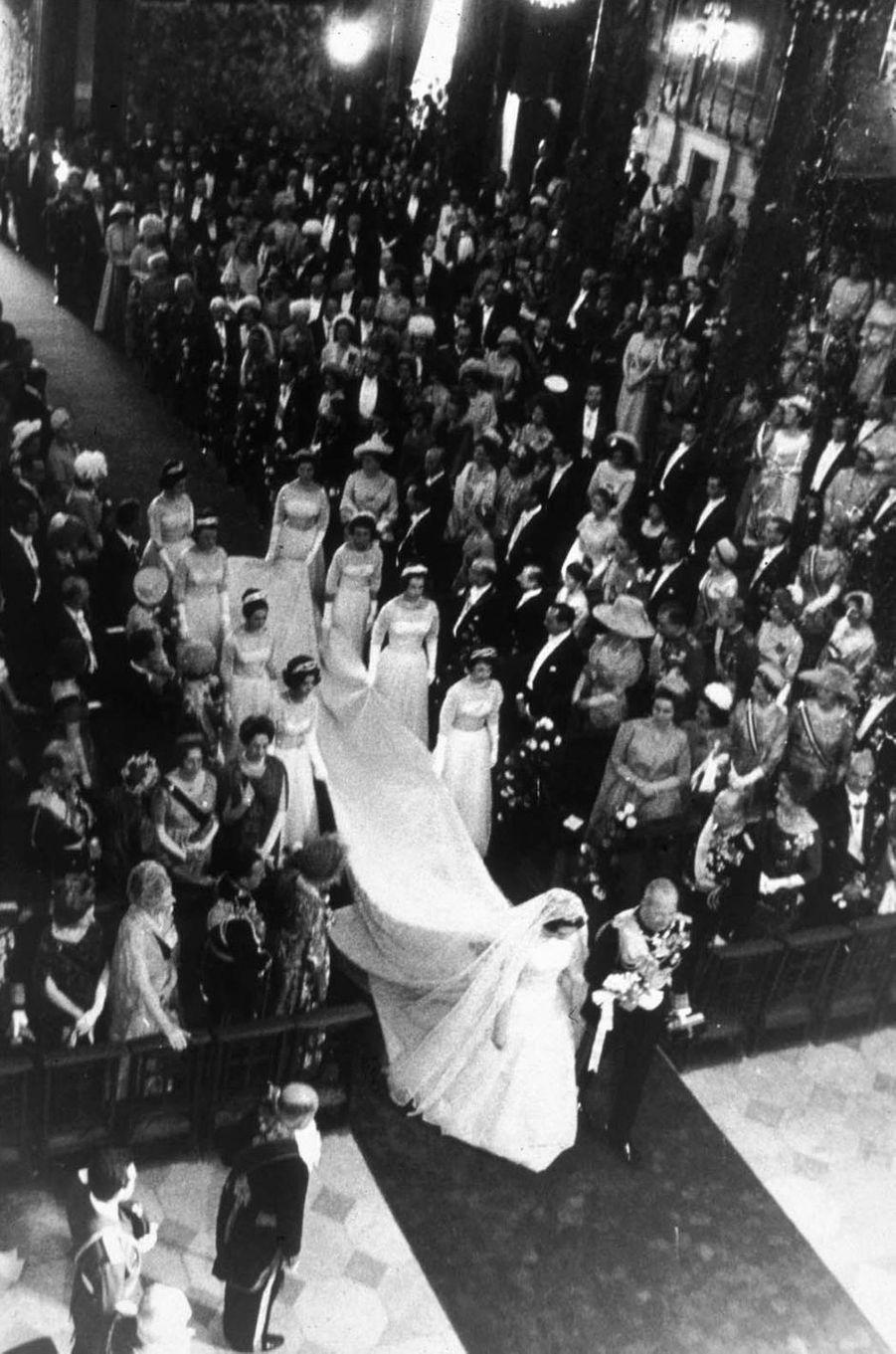 Au mariage de la princesse Sophie de Grèce (future reine Sofia) et de Don Juan Carlos d'Espagne à Athènes, le 14 mai 1962