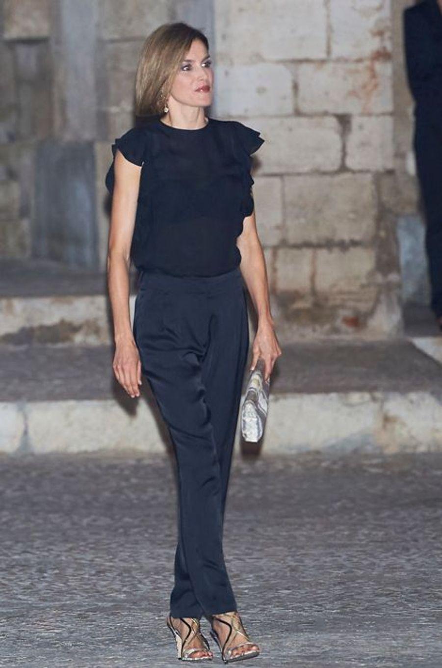 La reine Letizia d'Espagne à Palma de Majorque, le 5 août 2015