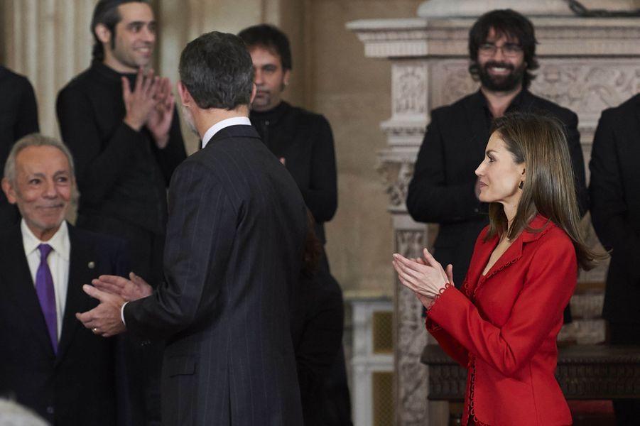 La reine Letizia et le roi Felipe VI d'Espagne à Madrid, le 30 janvier 2017