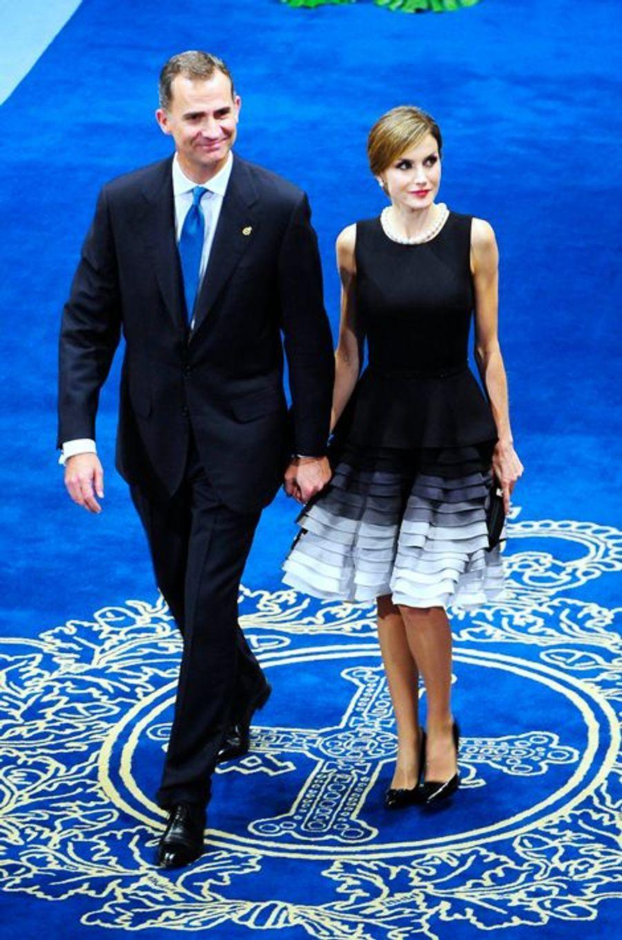 La reine Letizia et le roi Felipe VI d'Espagne à Oviedo, le 23 octobre 2015