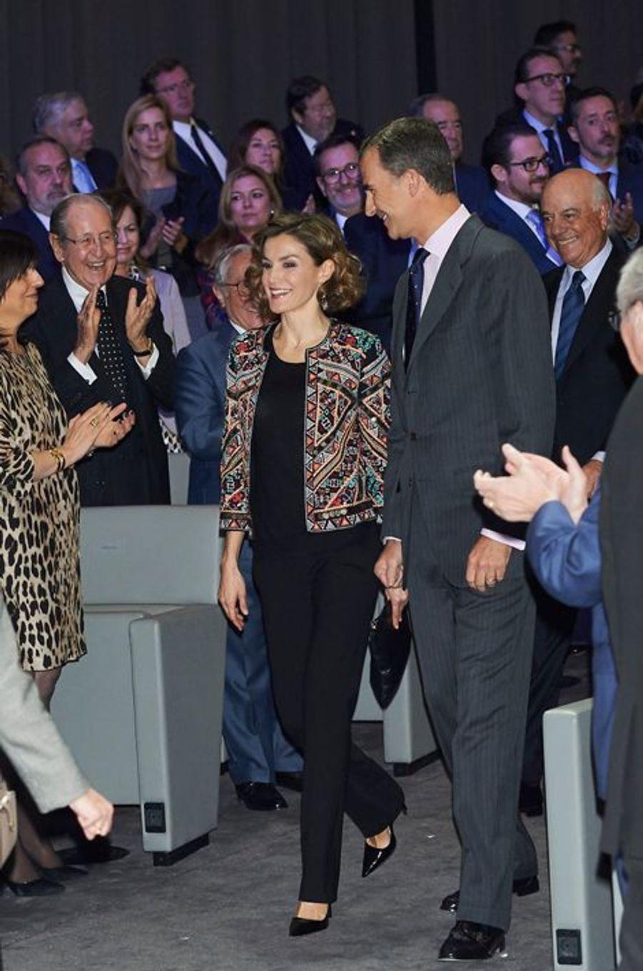 La reine Letizia et le roi Felipe VI d'Espagne à Madrid, le 12 novembre 2015