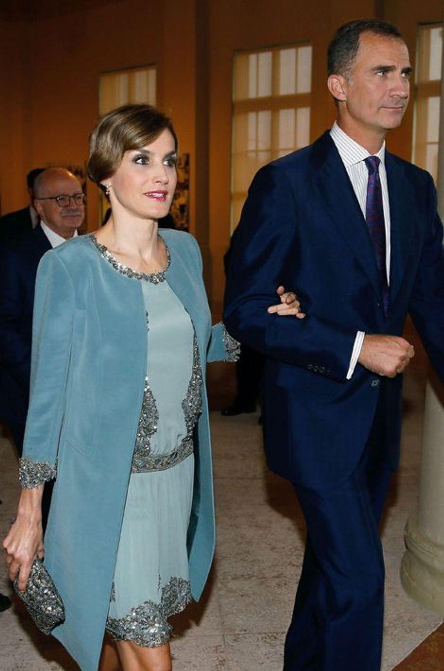 La reine Letizia et le roi Felipe VI d'Espagne à Miami, le 17 septembre 2015
