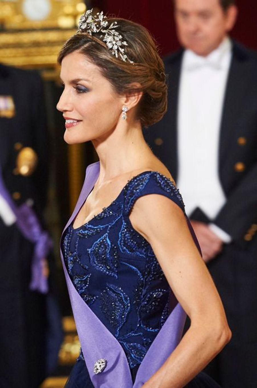 La reine Letizia d'Espagne au Palais royal à Madrid, le 7 juillet 2015