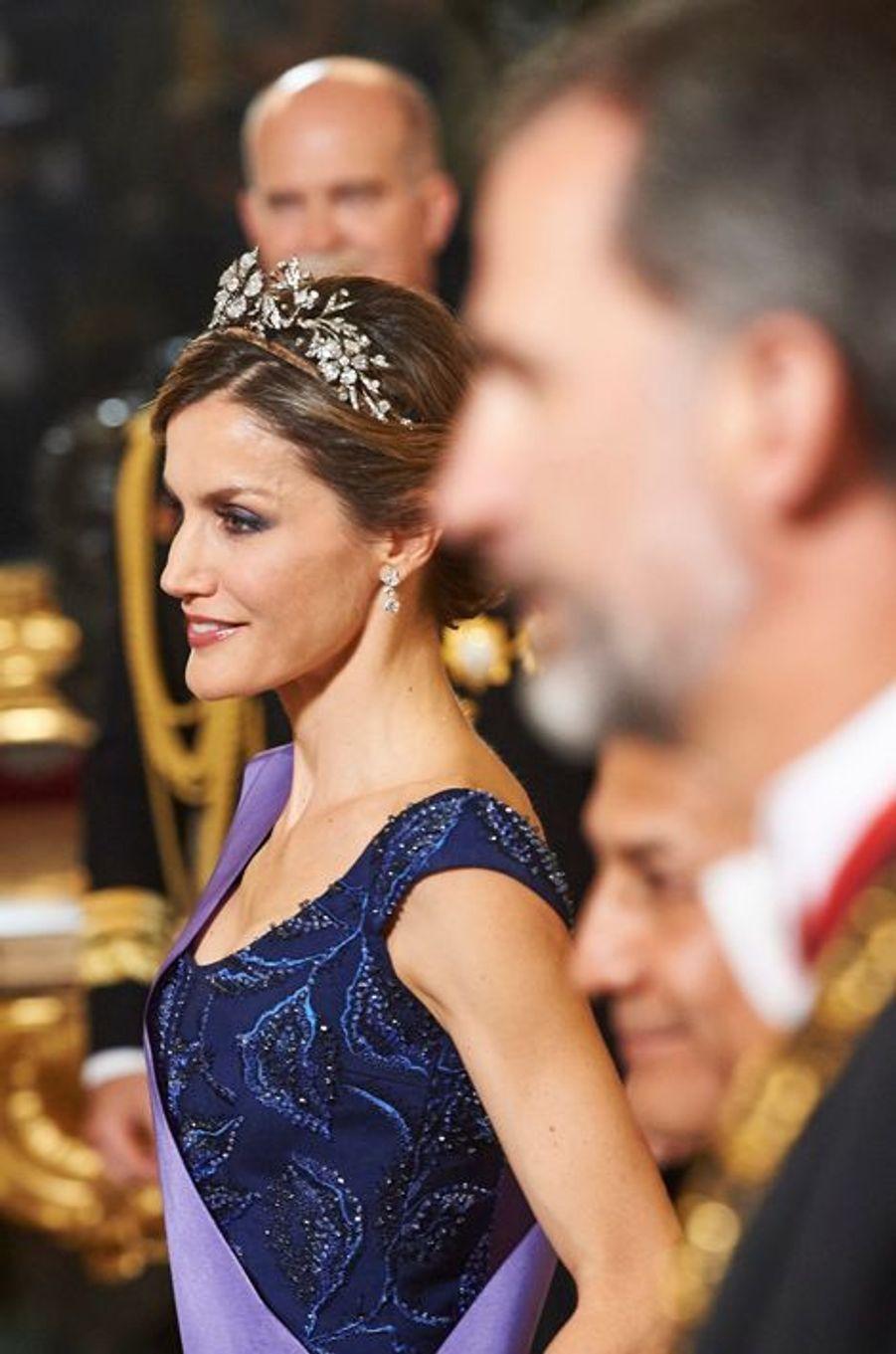 La reine Letizia et le roi Felipe VI d'Espagne au Palais royal à Madrid, le 7 juillet 2015