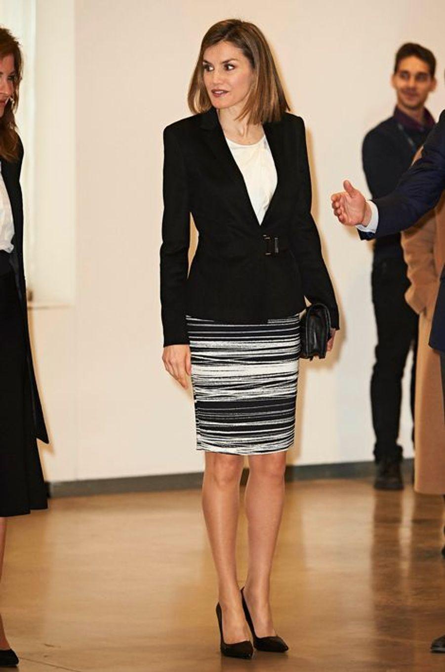 La reine Letizia d'Espagne à Madrid, le 3 février 2016