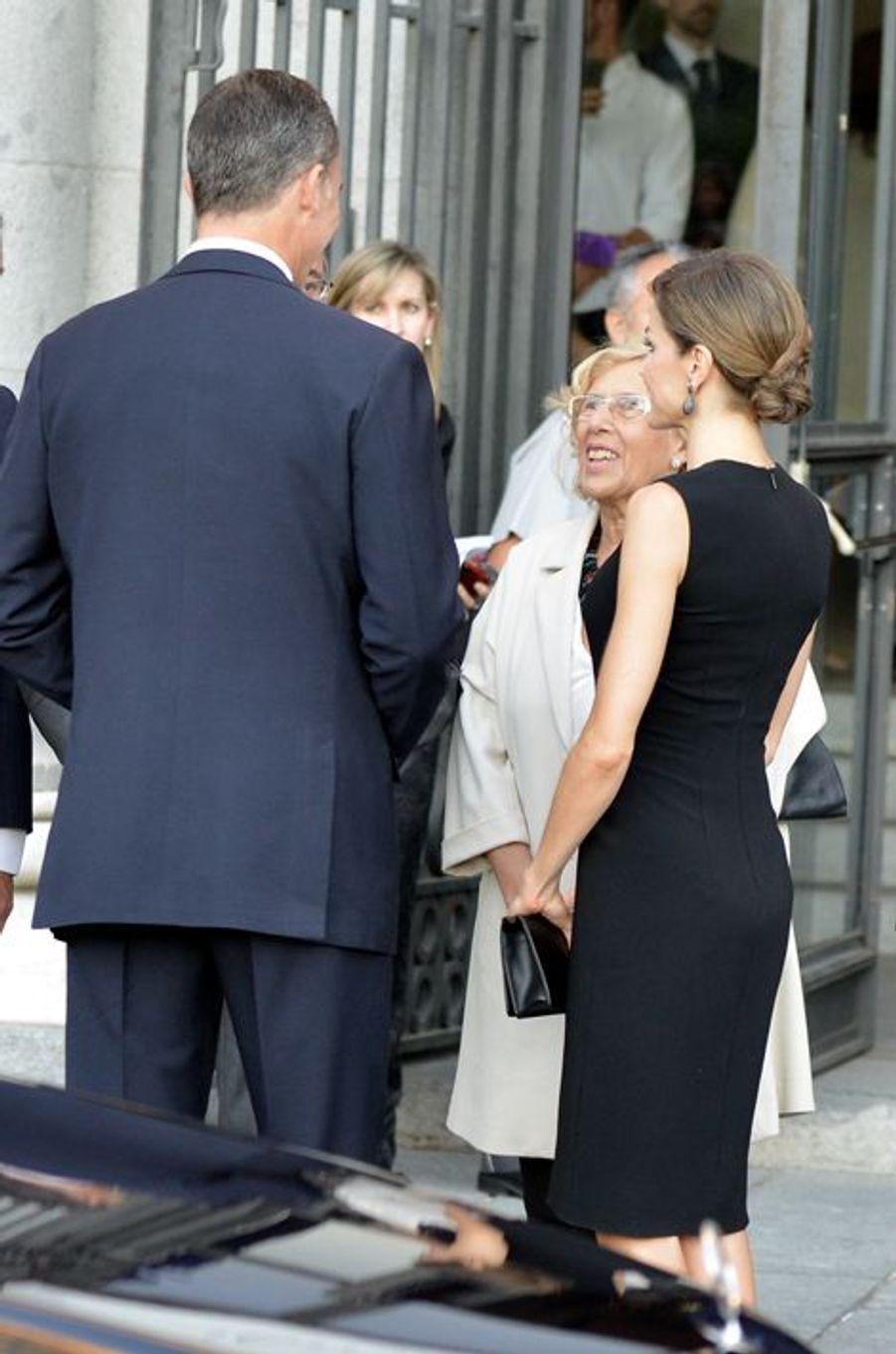 La reine Letizia et le roi Felipe VI d'Espagne au Teatro Real à Madrid, le 22 septembre 2015