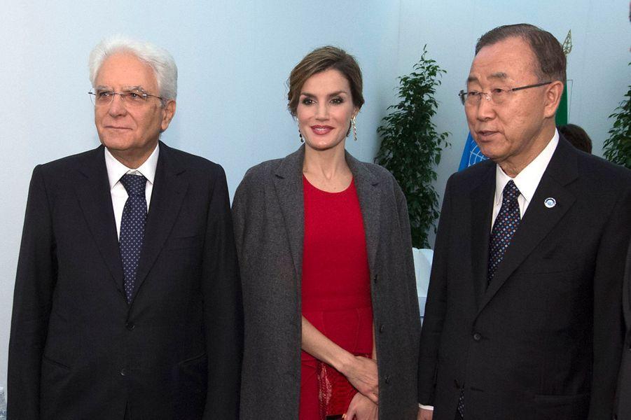 La reine Letizia d'Espagne avec Sergio Mattarella et Ban Ki-moon à Milan, le 16 octobre 2015
