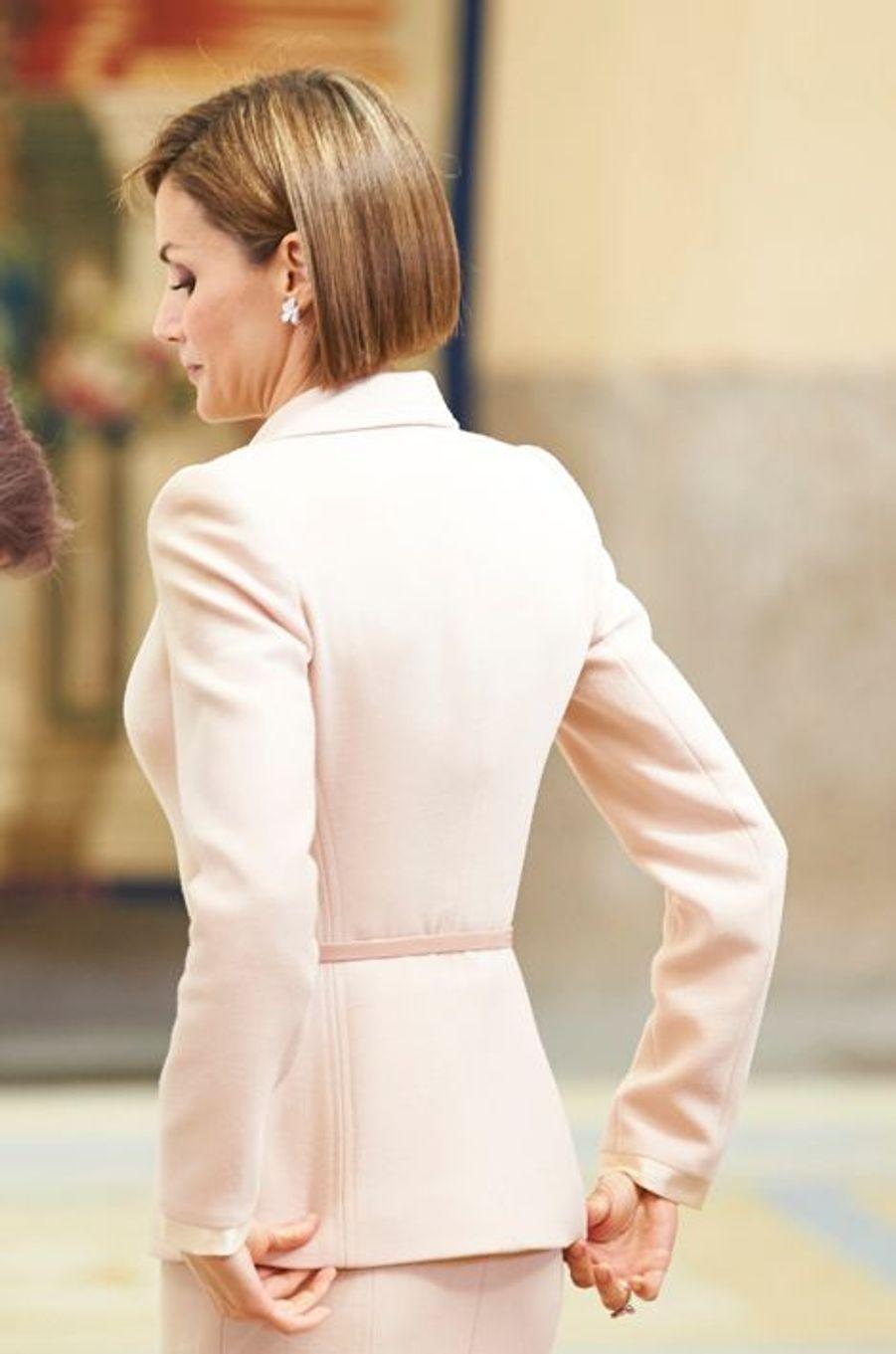 La reine Letizia d'Espagne à Madrid, le 29 avril 2015