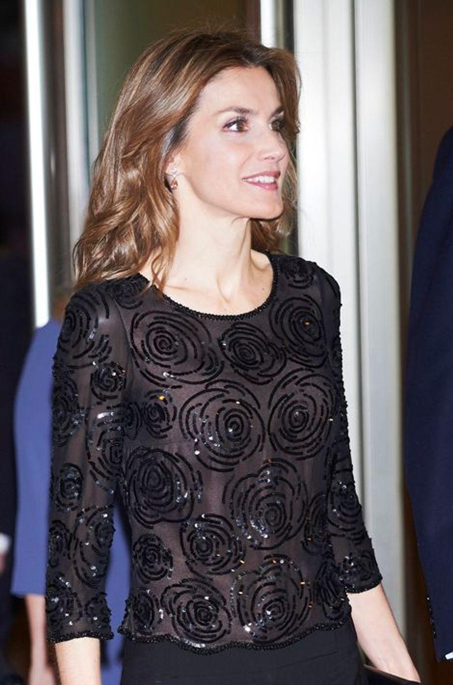 La reine Letizia d'Espagne au concert annuel pour les victimes du terrorisme à Madrid, le 12 mars 2015