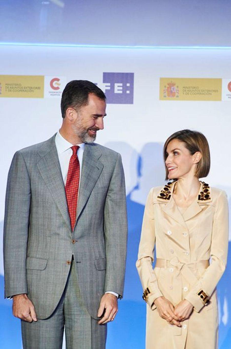 La reine Letizia et le roi Felipe VI d'Espagne à Madrid, le 7 mai 2015