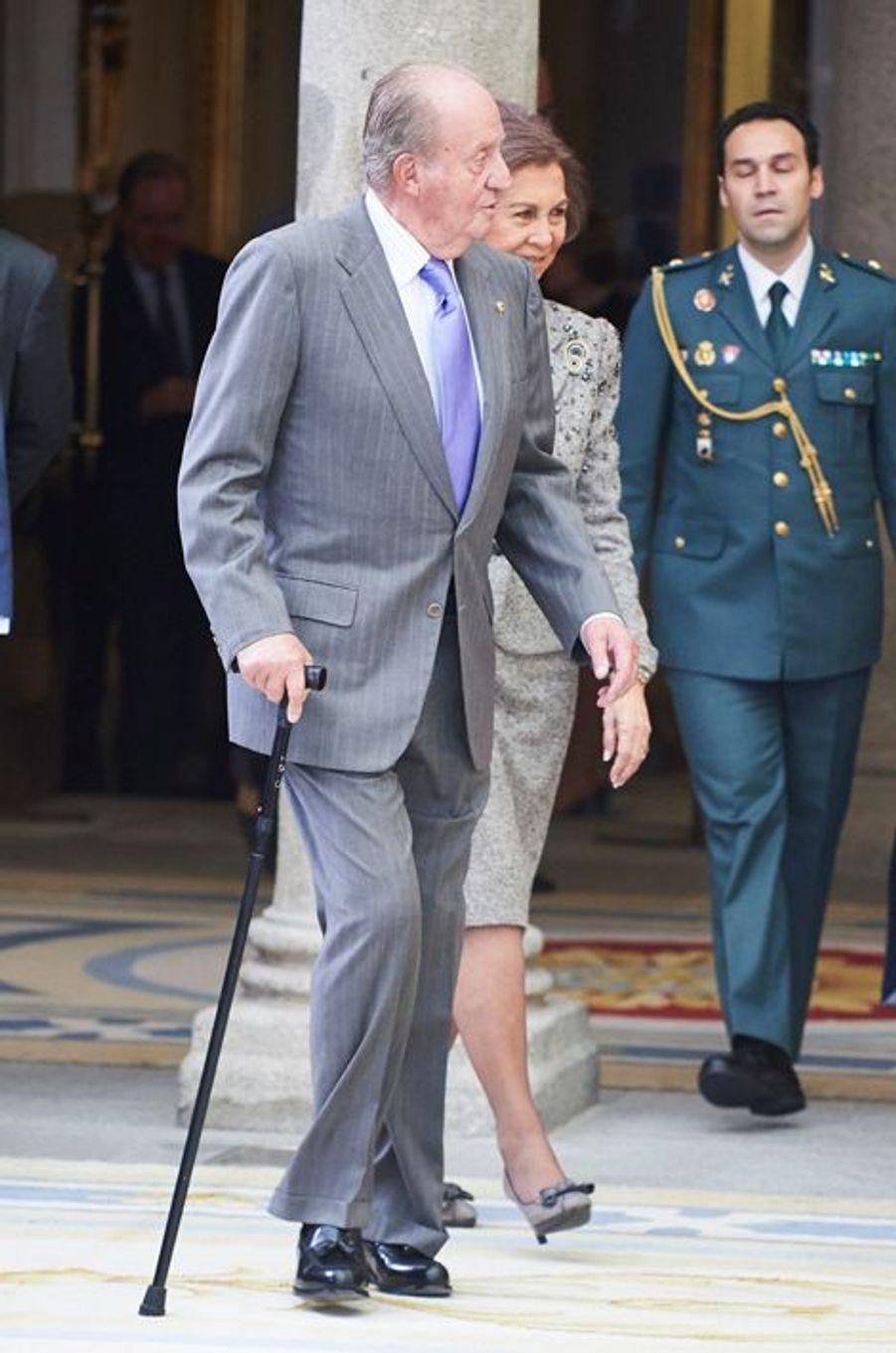 L'ex-roi Juan Carlos et l'ex-reine Sofia d'Espagne à Madrid, le 17 novembre 2015