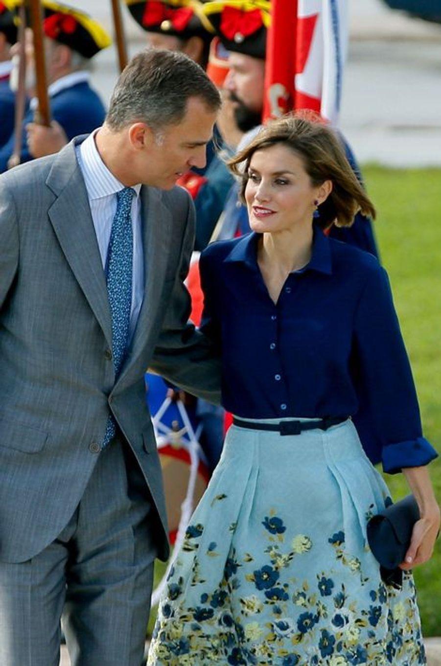 La reine Letizia et le roi Felipe VI d'Espagne à St. Augustine en Floride, le 18 septembre 2015