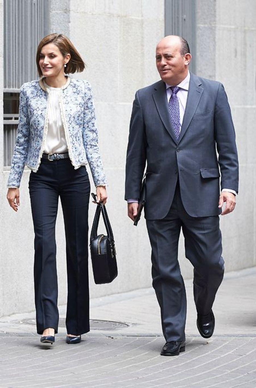 La reine Letizia d'Espagne à Madrid, le 4 mai 2015
