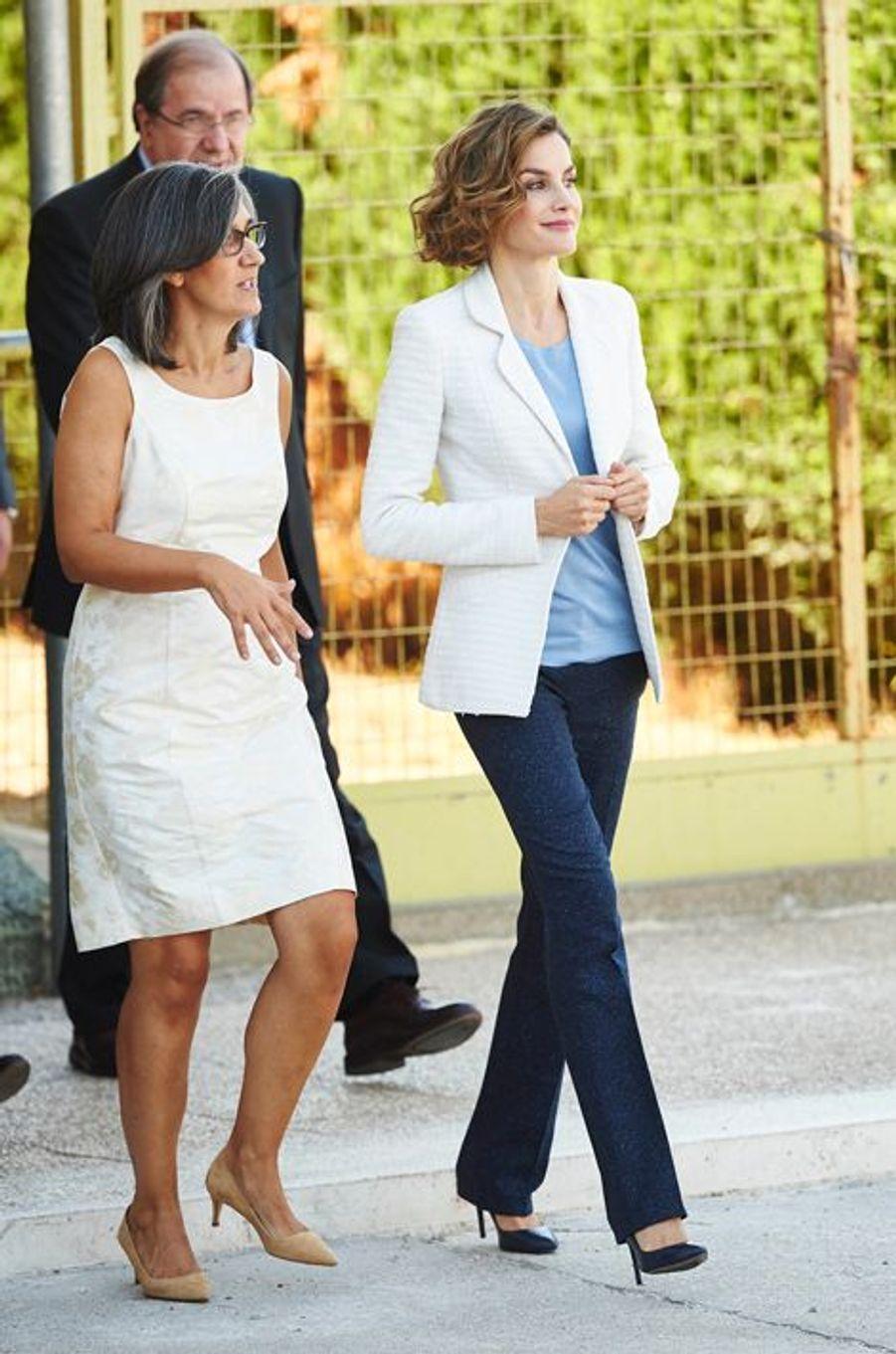 La reine Letizia d'Espagne à Palencia, le 21 septembre 2015