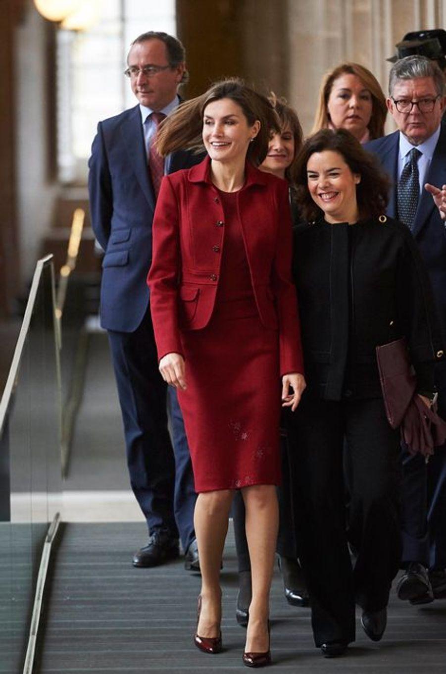La reine Letizia d'Espagne au Palais royal à Madrid, le 10 février 2016