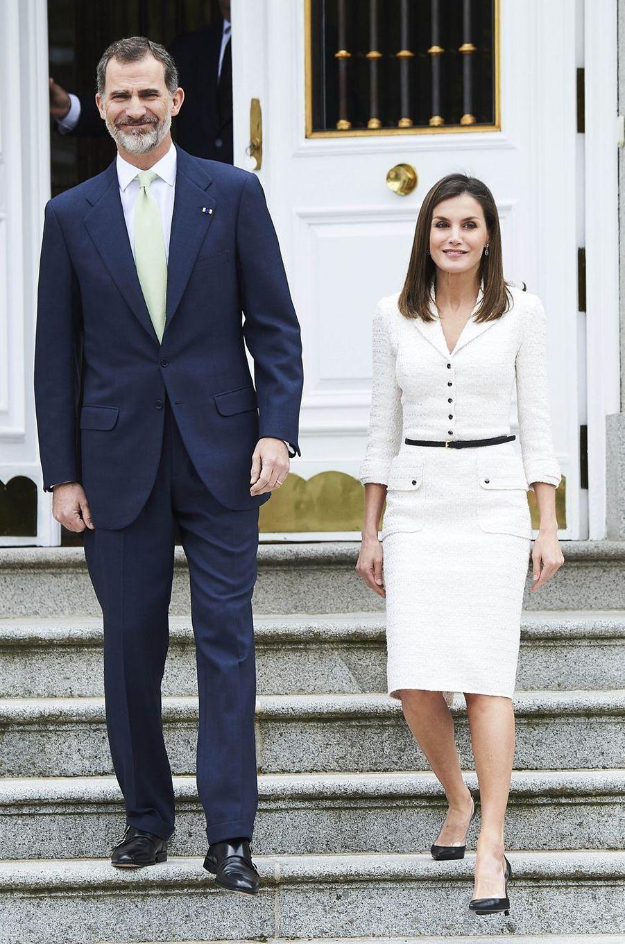 La reine Letizia et le roi Felipe VI d'Espagne à Madrid, le 14 mai 2018