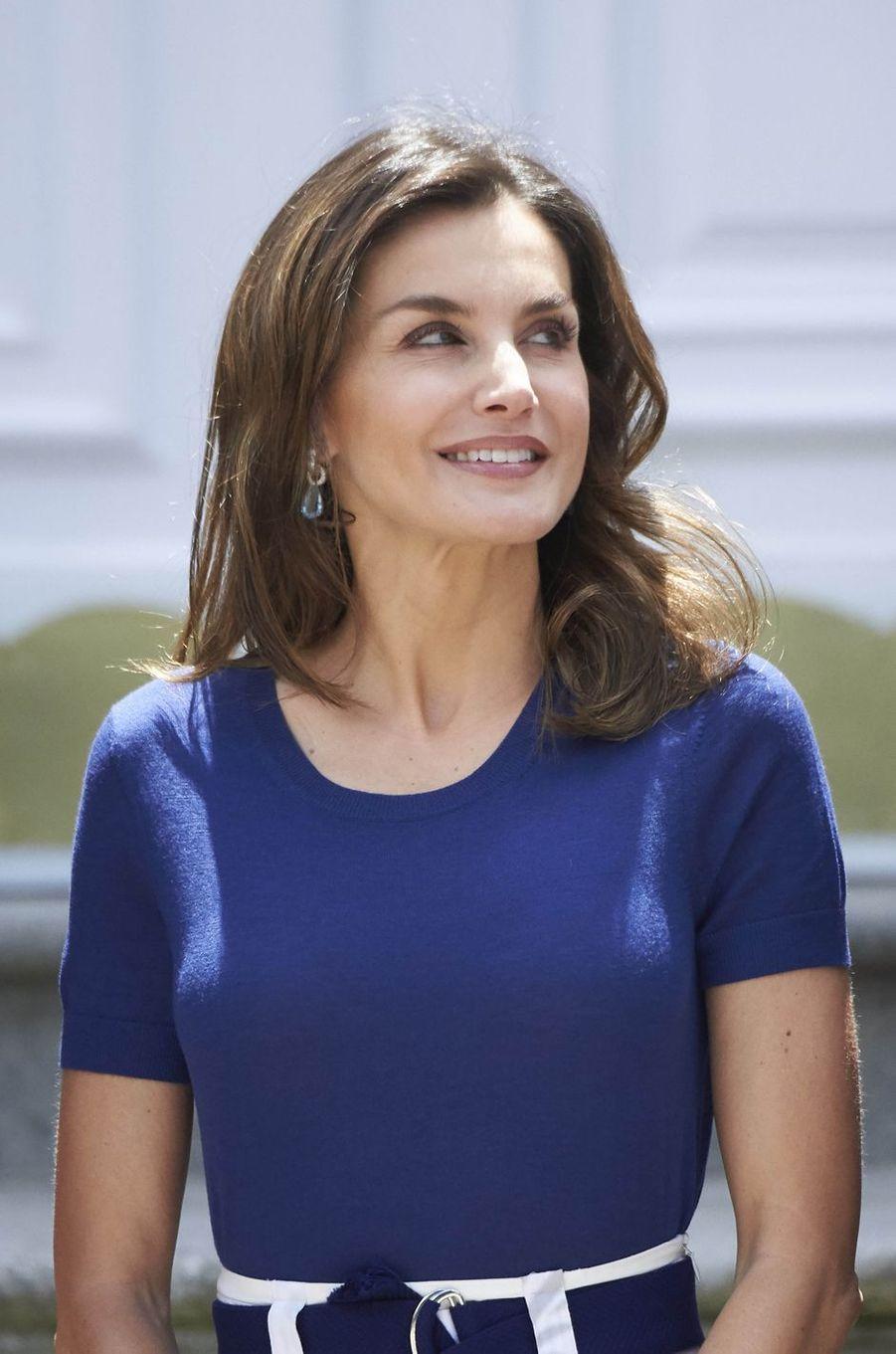 La reine Letizia d'Espagne au palais de la Zarzuela à Madrid, le 4 juin 2018