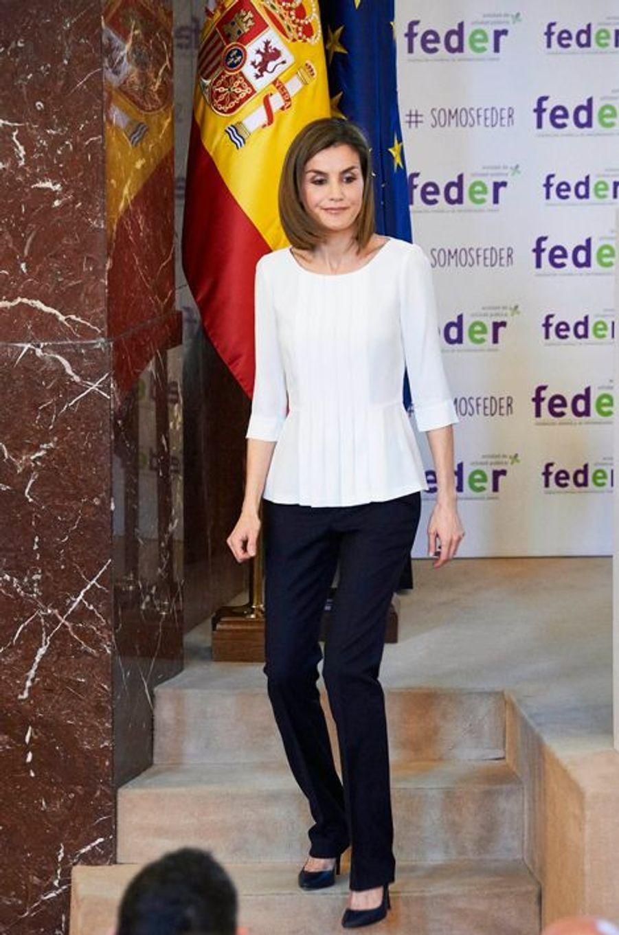 La reine Letizia d'Espagne à Madrid, le 3 mars 2016