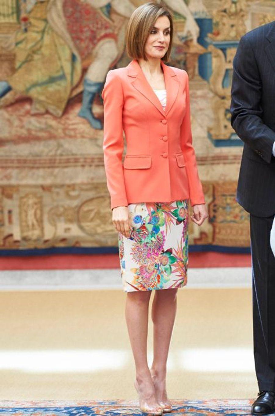 La reine Letizia au palais du Pardo à Madrid, le 16 juin 2015
