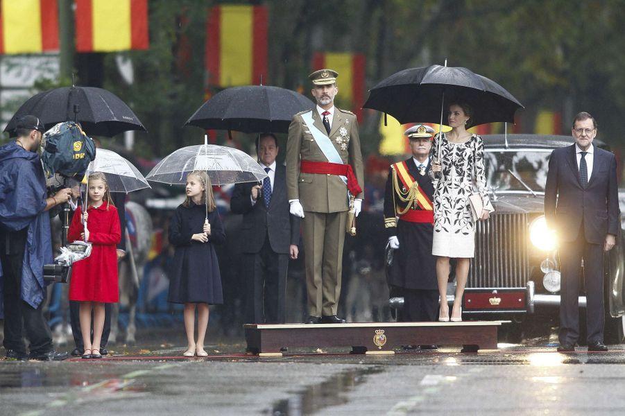 La famille royale d'Espagne lors de la Fête nationale à Madrid, le 12 octobre 2016