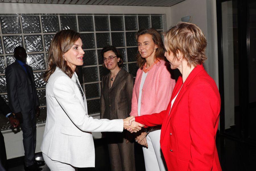 La reine Letizia d'Espagne à Dakar au Sénégal, le 12 décembre 2017