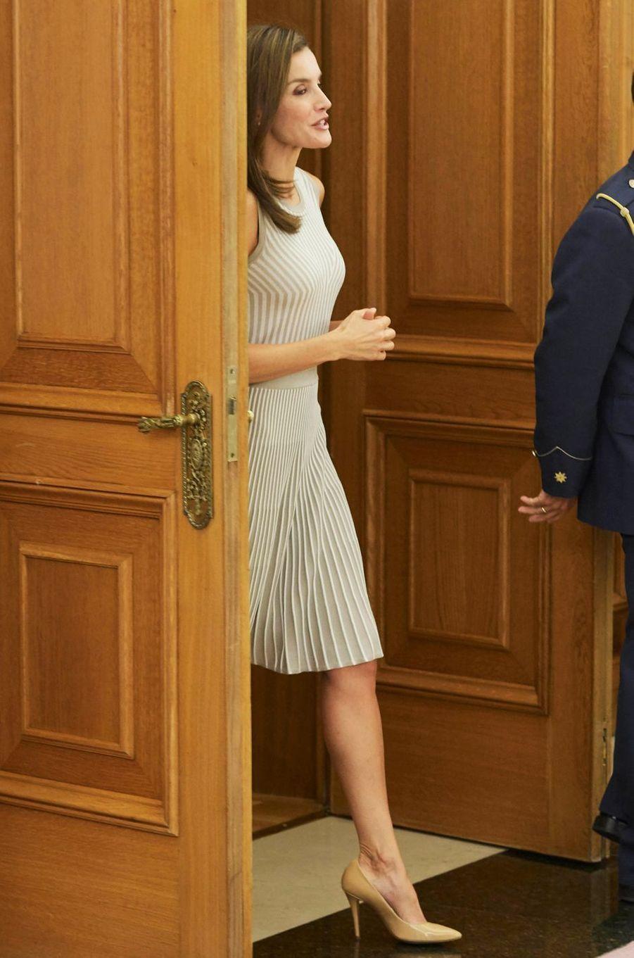 La reine Letizia d'Espagne fait sa rentrée à Madrid, le 5 septembre 2017