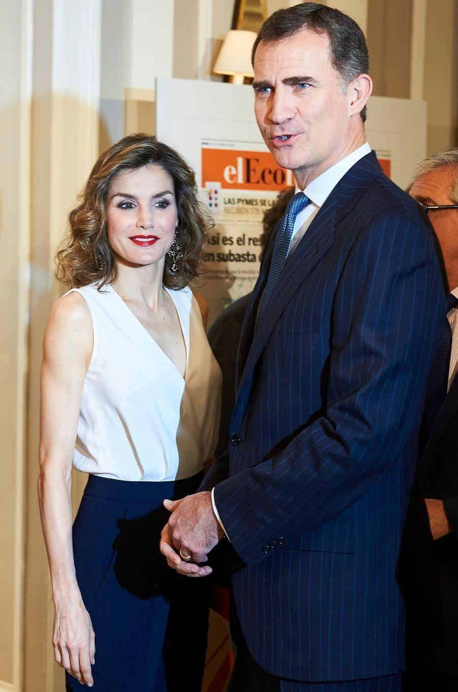 La reine Letizia et le roi Felipe VI d'Espagne à Madrid, le 8 juin 2016