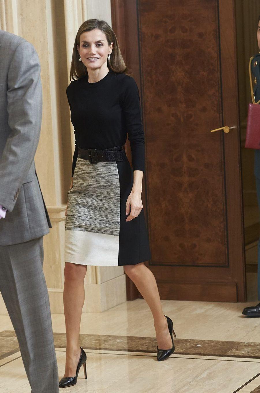 La reine Letizia d'Espagne à Madrid, le 18 novembre 2016