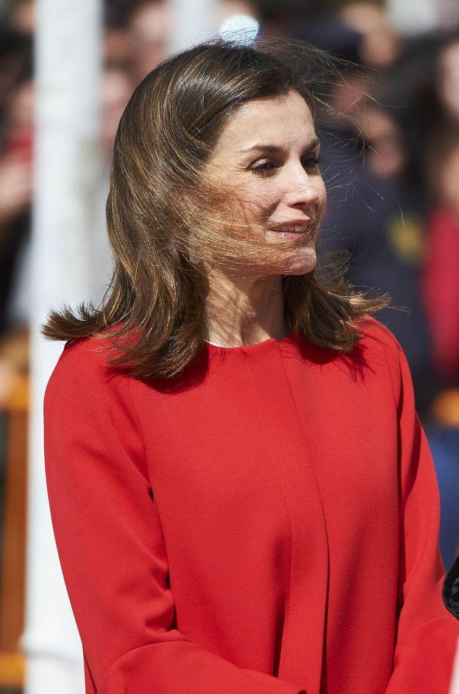 La reine Letizia d'Espagne à Huelva en Andalousie, le 11 avril 2018