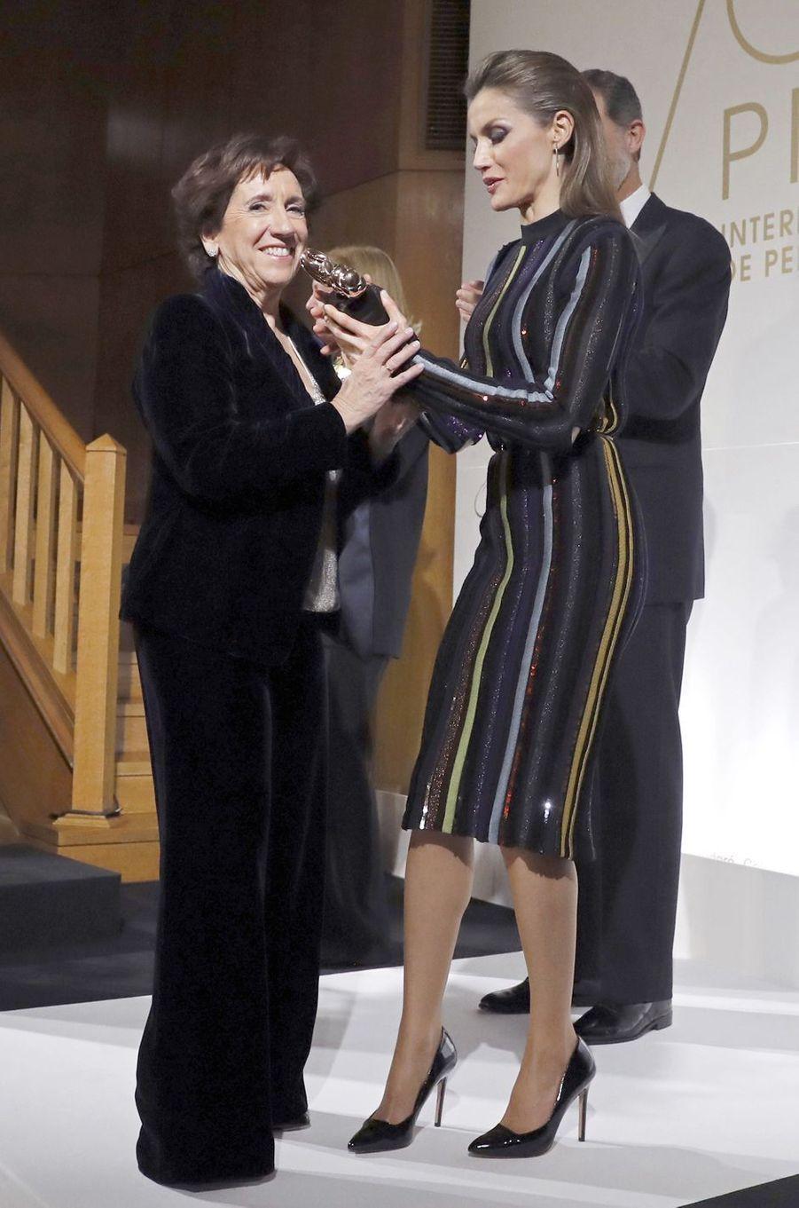 La reine Letizia d'Espagne dans une robe Nina Ricci à Madrid, le 13 décembre 2016