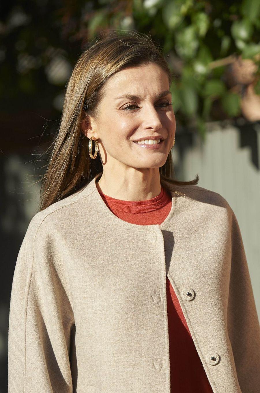 La reine Letizia d'Espagne à Madrid, le 12 janvier 2017