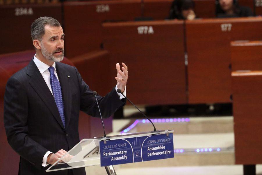 Le roi Felipe VI d'Espagne au Conseil de l'Europe à Strasbourg, le 27 avril 2017