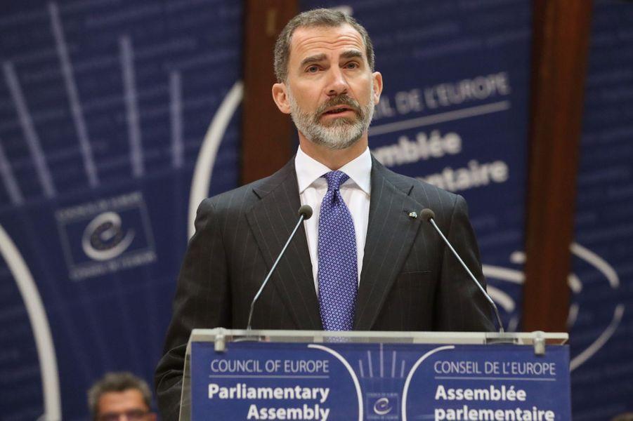 Le roi d'Espagne Felipe VI au Conseil de l'Europe à Strasbourg, le 27 avril 2017