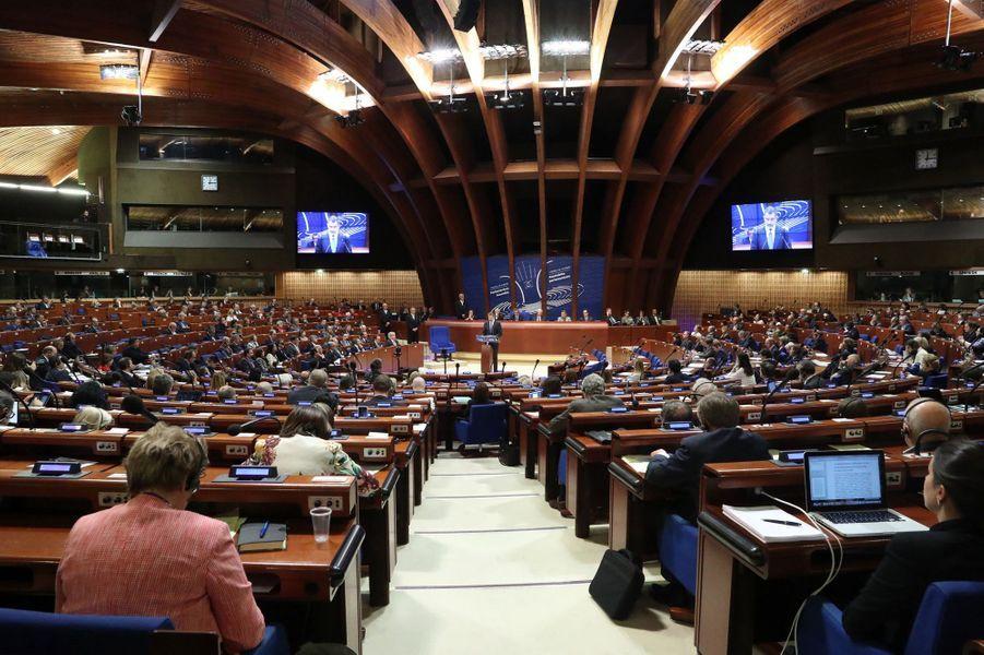 Le roi Felipe VI d'Espagne prononce un discours au Conseil de l'Europe à Strasbourg, le 27 avril 2017