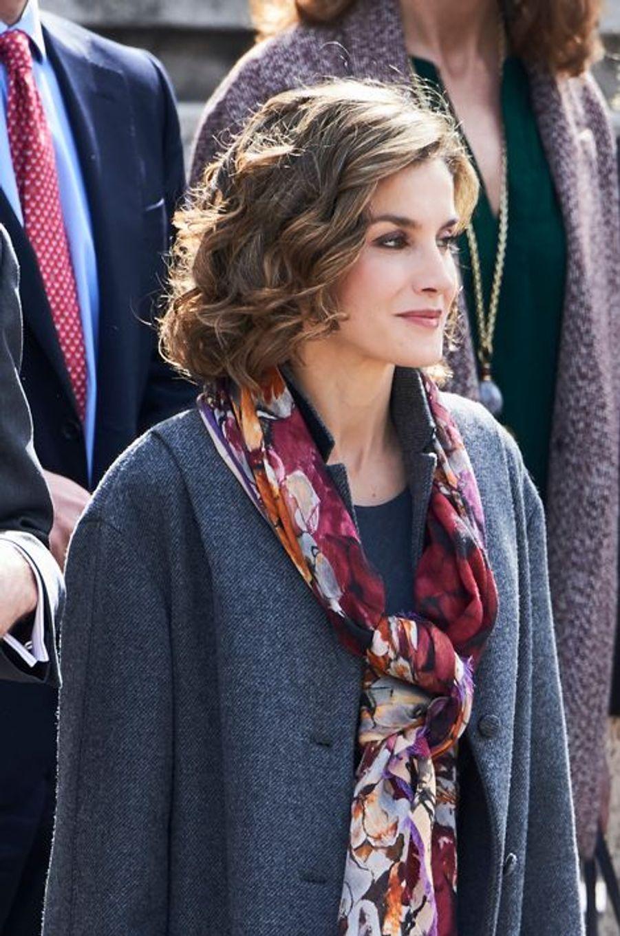 La reine Letizia d'Espagne à Madrid, le 4 mars 2016