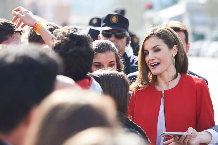 La reine Letizia d'Espagne en déplacement à Soria le 30 mars 2017