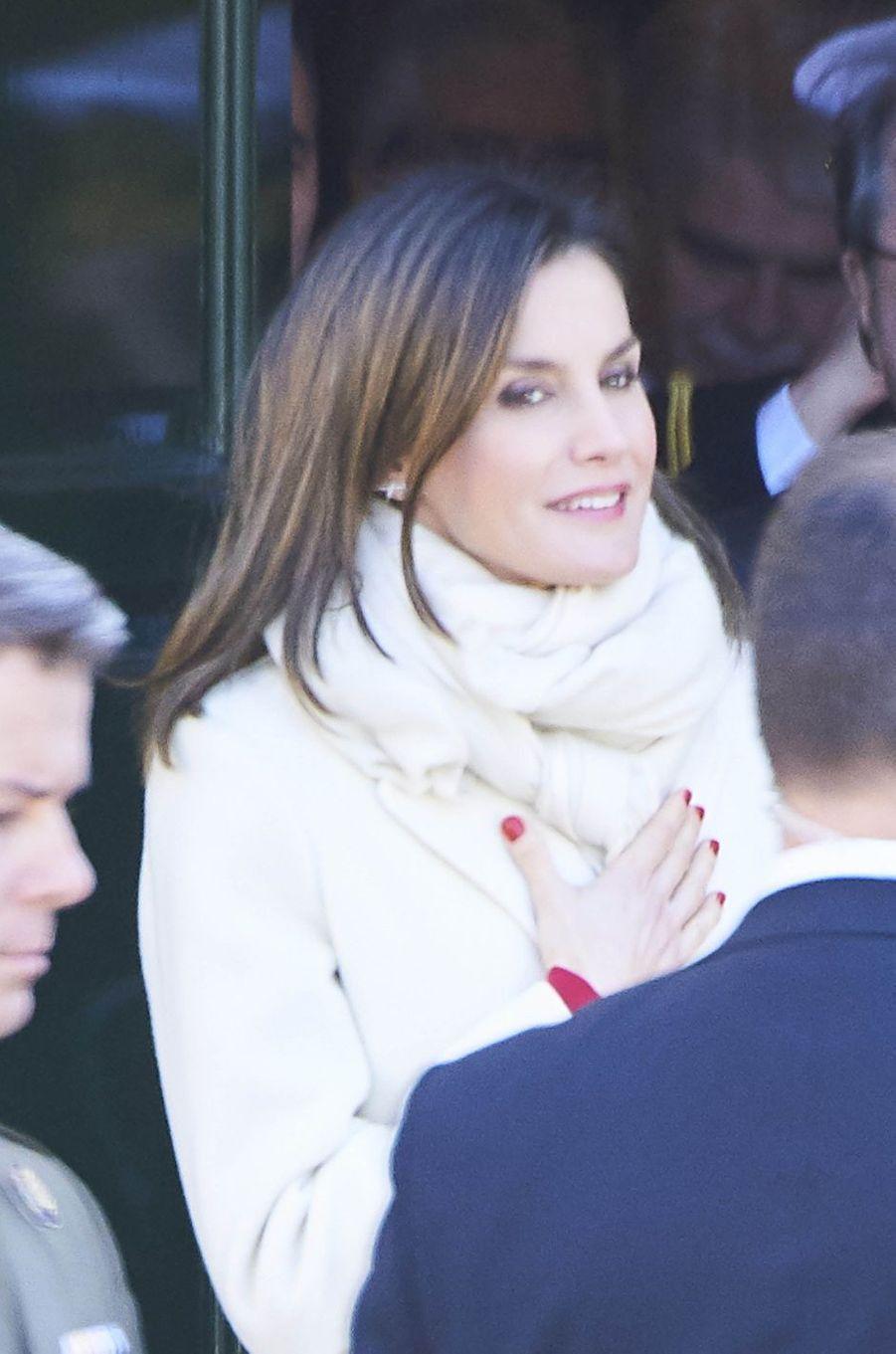 La reine Letizia d'Espagne à Valladolid, le 22 mars 2018