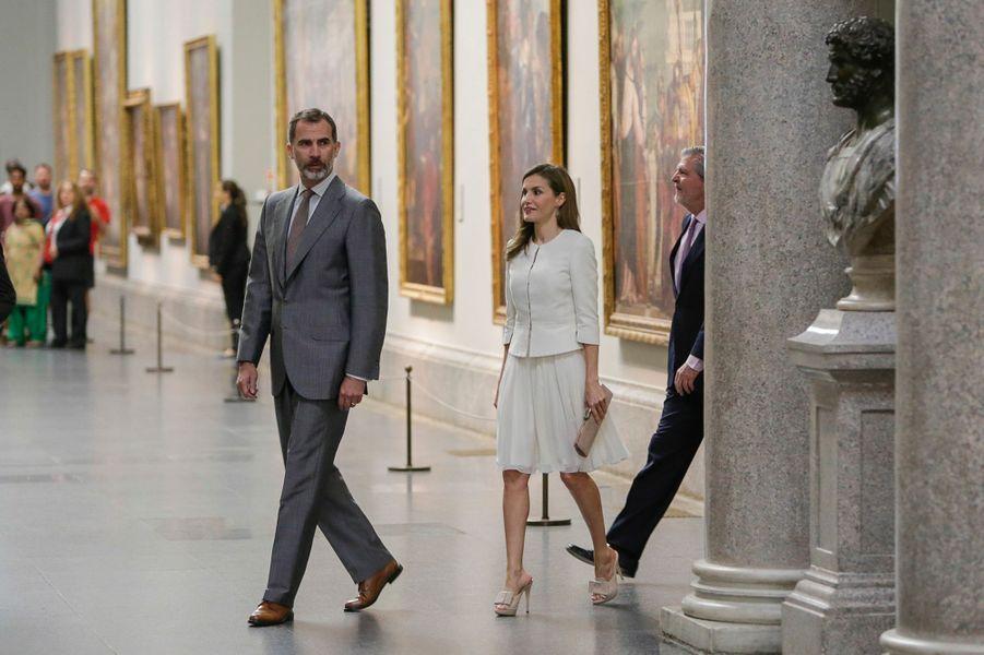La reine Letizia et le roi Felipe VI d'Espagne au Musée national du Prado à Madrid, le 19 juin 2017