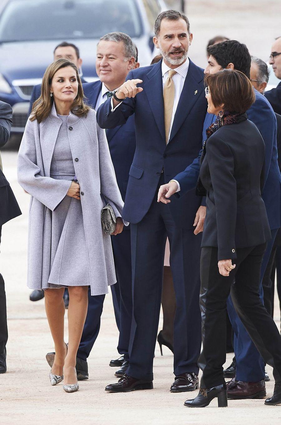 La reine Letizia et le roi Felipe VI d'Espagne à Caravaca de la Cruz, le 28 novembre 2017
