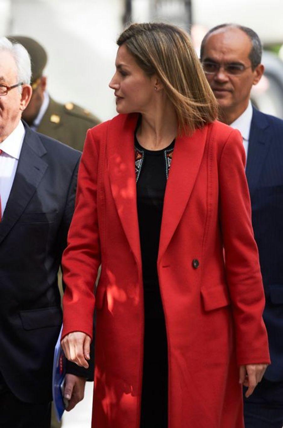 La reine Letizia d'Espagne à Madrid, le 22 février 2016