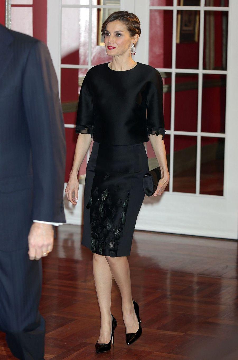 La reine Letizia d'Espagne aux 30 ans du journal Expansion à Madrid, le 7 février 2017